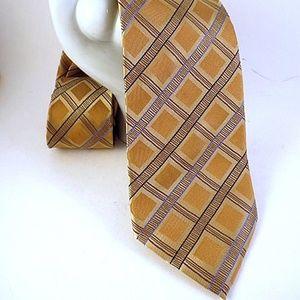 ADOLFO Mens 100% Silk Neck Tie Yellow Gold Blue